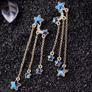 Blue stars drop gold earrings